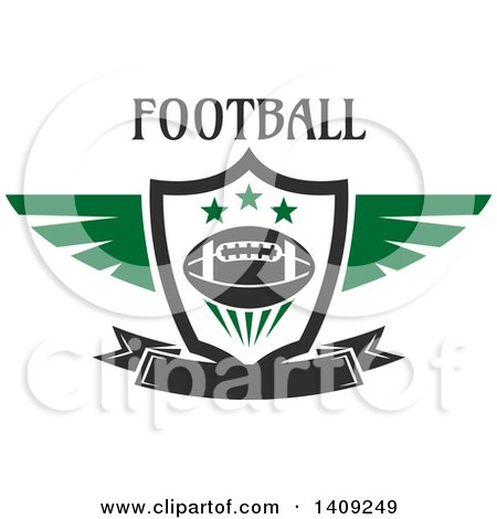 Clipart of a Green and Dark Gray American Football Design - Royalty Free Vector Illustration by Vector Tradition SM