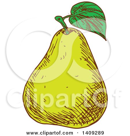 Clipart of a Sketched Green Pear - Royalty Free Vector Illustration by Vector Tradition SM