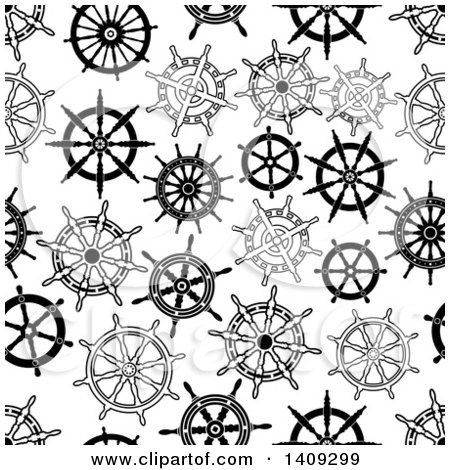 Clipart of a Seamless Background Pattern of Black and White Helms - Royalty Free Vector Illustration by Vector Tradition SM