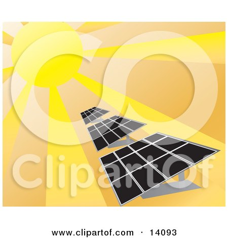 Sunlight Shining on Solar Energy Panels Posters, Art Prints