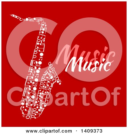 Clipart of a Saxophone Formed of White Music Notes, with Text on Red - Royalty Free Vector Illustration by Vector Tradition SM
