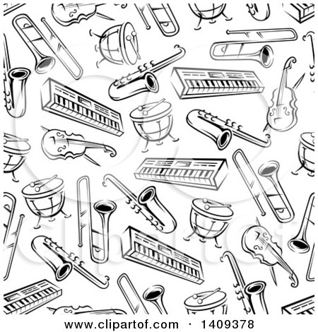 Clipart of a Seamless Background Pattern of Black and White Musical Instruments - Royalty Free Vector Illustration by Vector Tradition SM