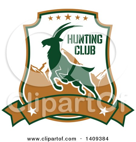 Clipart of a Mountain Goat Hunting Design - Royalty Free Vector Illustration by Vector Tradition SM