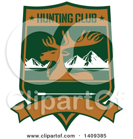 Clipart of a Rocky Mountain Elk Hunting Design - Royalty Free Vector Illustration by Vector Tradition SM