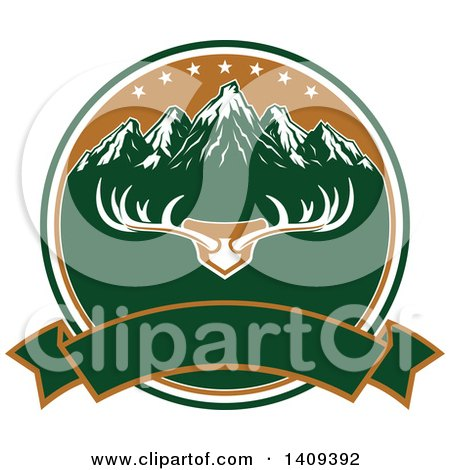 Clipart of a Deer Antler Rack and Mountain Hunting Design - Royalty Free Vector Illustration by Vector Tradition SM