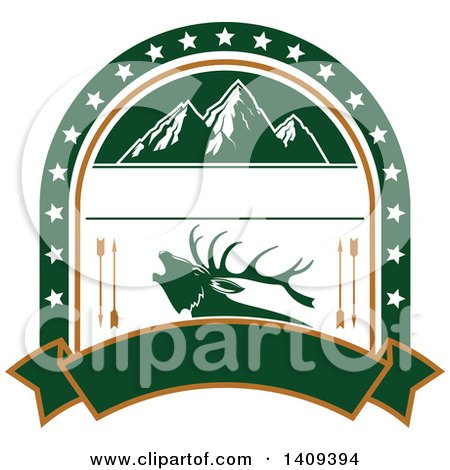 Clipart of a Mountain and Elk Hunting Design - Royalty Free Vector Illustration by Vector Tradition SM