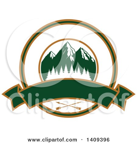 Clipart of a Mountain and Arrow Hunting Design - Royalty Free Vector Illustration by Vector Tradition SM
