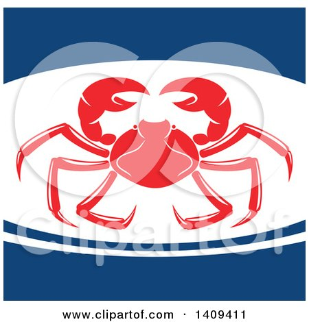 Clipart of a Crab Seafood Design - Royalty Free Vector Illustration by Vector Tradition SM