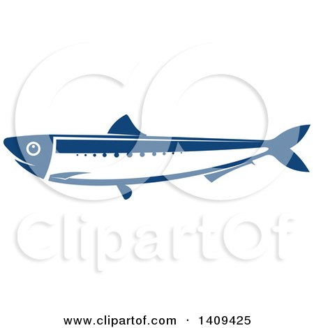 Clipart of a Blue Anchovy Seafood Design - Royalty Free Vector Illustration by Vector Tradition SM