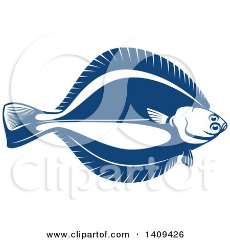 Clipart of a Flounder Fish Seafood Design - Royalty Free Vector Illustration by Vector Tradition SM