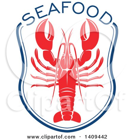 Clipart of a Lobster Seafood Design - Royalty Free Vector Illustration by Vector Tradition SM