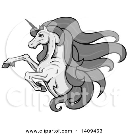 Clipart of a Grayscale Rearing Unicorn with a Long Mane - Royalty Free Vector Illustration by Vector Tradition SM
