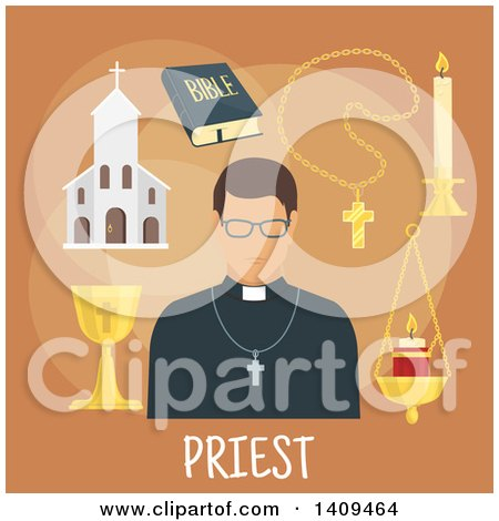Clipart of a Flat Design Priest with Icons on Brown - Royalty Free Vector Illustration by Vector Tradition SM