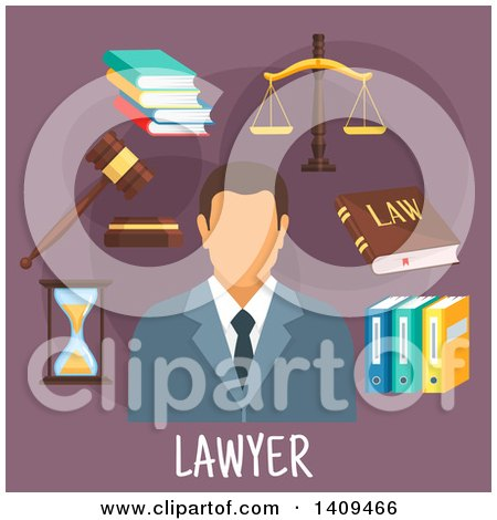 Clipart of a Flat Design Lawyer with Icons on Purple - Royalty Free Vector Illustration by Vector Tradition SM