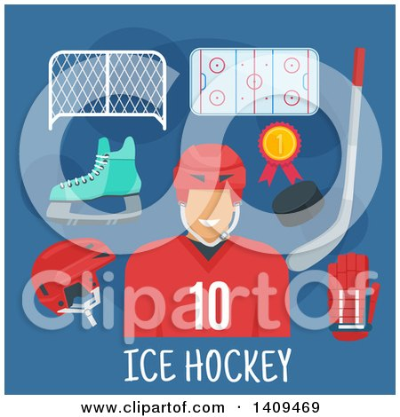 Clipart of a Flat Design Hockey Player with Icons on Blue - Royalty Free Vector Illustration by Vector Tradition SM