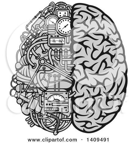 Clipart of a Grayscale Half Human, Half Data Processing Center Brain - Royalty Free Vector Illustration by Vector Tradition SM