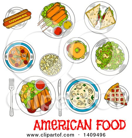 Clipart of a Sketched Layout of American Foods - Royalty Free Vector Illustration by Vector Tradition SM