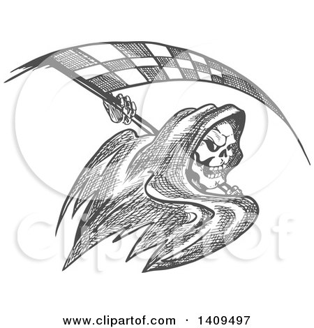 Clipart of a Grayscale Sketched Grim Reaper with a Racing Flag Scythe - Royalty Free Vector Illustration by Vector Tradition SM