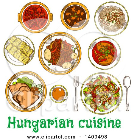 Clipart of a Setting of Sketched Hungarian Cuisine - Royalty Free Vector Illustration by Vector Tradition SM