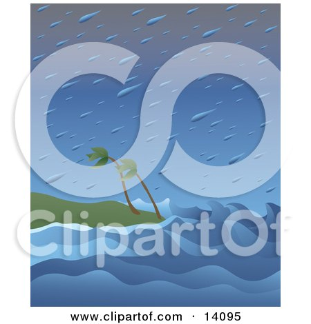 Huge Raindrops Falling Over Wind Blown Palm Trees and Giant Waves on a Beach During a Tropical Storm Natural Hazard Clipart Illustration by Rasmussen Images