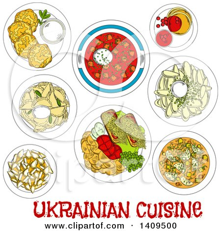 Clipart of a Setting of Sketched Ukrainian Cuisine - Royalty Free Vector Illustration by Vector Tradition SM