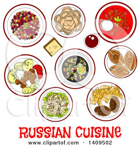Clipart of a Sketched Meal of Russian Cuisine - Royalty Free Vector Illustration by Vector Tradition SM