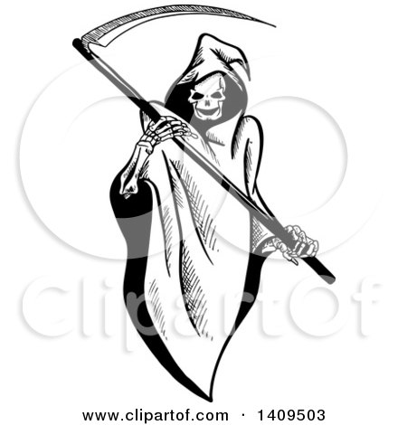 Clipart of a Black and White Sketched Grim Reaper Holding a Scythe - Royalty Free Vector Illustration by Vector Tradition SM