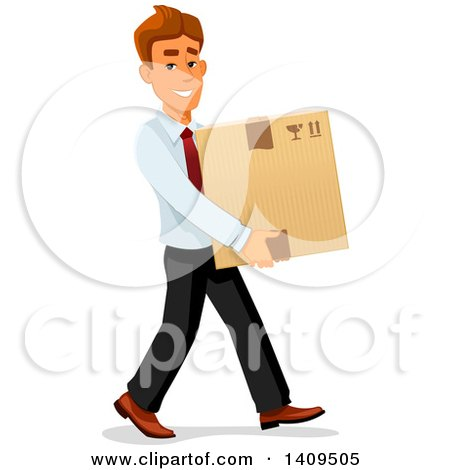 Clipart of a Caucasian Business Man Carrying a Box - Royalty Free Vector Illustration by Vector Tradition SM