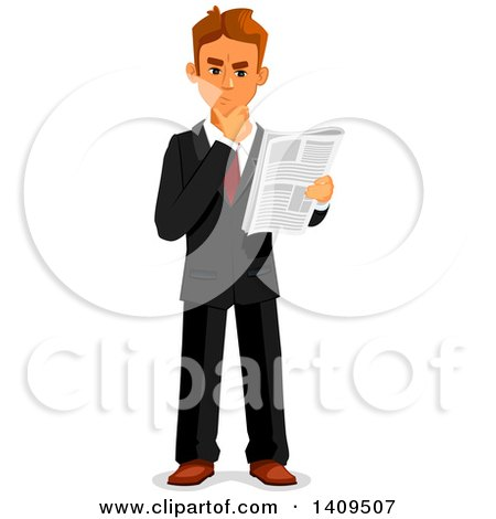 Clipart of a Caucasian Business Man Reading a Newspaper and Thinking - Royalty Free Vector Illustration by Vector Tradition SM