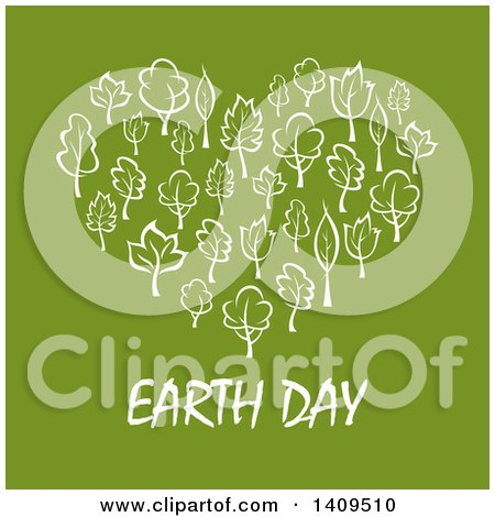 Heart Formed of White Leaves or Trees with Earth Day Text on Green Posters, Art Prints