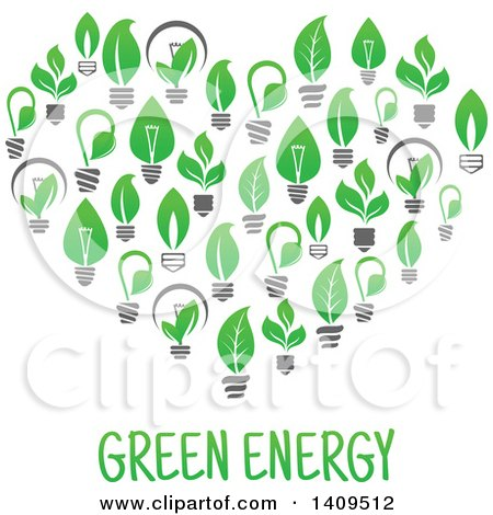 Clipart of a Heart Formed of Green Energy Light Bulbs, with Text - Royalty Free Vector Illustration by Vector Tradition SM