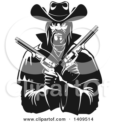 Clipart of a Black and White Tough Western Cowboy Holding Pistols in His Crossed Arms - Royalty Free Vector Illustration by Vector Tradition SM