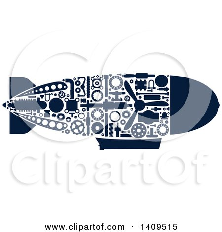 Clipart of a Navy Blue Silhouetted Submarine with Visible Mechanical Parts - Royalty Free Vector Illustration by Vector Tradition SM