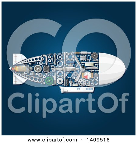 Clipart of a Submarine with Visible Mechanical Parts, on Blue - Royalty Free Vector Illustration by Vector Tradition SM