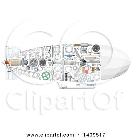 Clipart of a Submarine with Visible Mechanical Parts - Royalty Free Vector Illustration by Vector Tradition SM