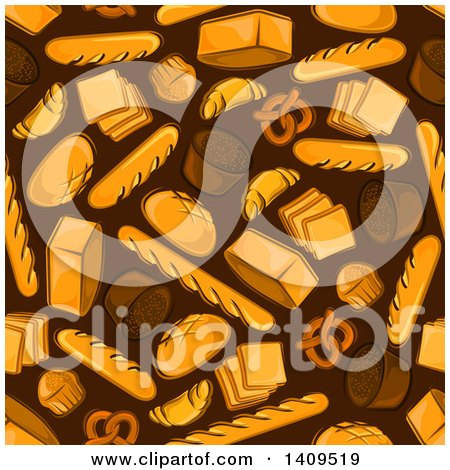Clipart of a Seamless Background Pattern of Breads - Royalty Free Vector Illustration by Vector Tradition SM