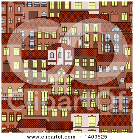 Clipart of a Seamless Background Pattern of Town Houses - Royalty Free Vector Illustration by Vector Tradition SM