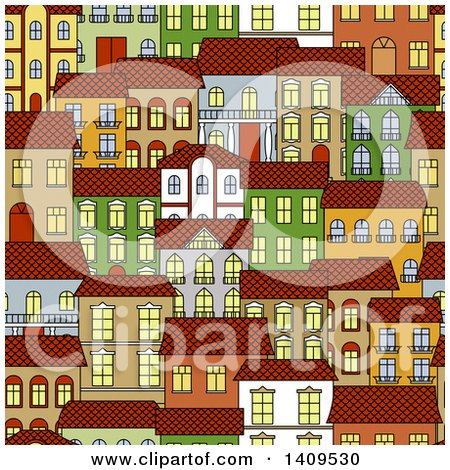 Clipart of a Seamless Background Pattern of Town Homes - Royalty Free Vector Illustration by Vector Tradition SM