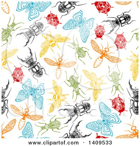 Clipart of a Seamless Background Pattern of Insects - Royalty Free Vector Illustration by Vector Tradition SM