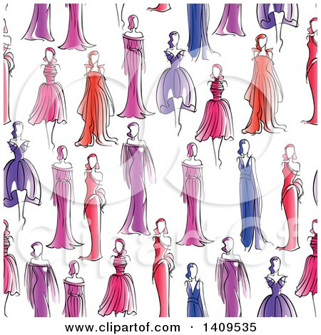 Clipart of a Seamless Background Pattern of Models in Dresses - Royalty Free Vector Illustration by Vector Tradition SM