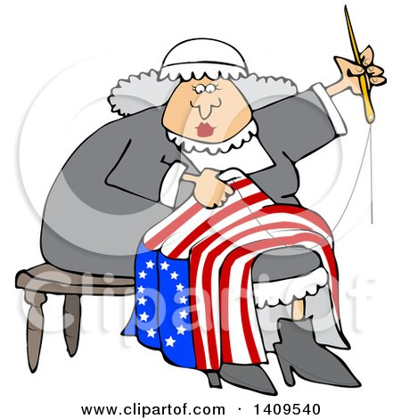 Clipart of a Cartoon Woman, Betsy Ross, Sewing a Flag - Royalty Free Vector Illustration by djart