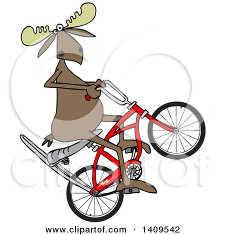 Clipart of a Cartoon Moose Popping a Wheelie on a Stingray Bicycle - Royalty Free Vector Illustration by djart