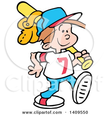 Clipart of a Cartoon Happy Caucasian Boy Walking with a Baseball Bat and Glove over His Shoulder - Royalty Free Vector Illustration by Johnny Sajem