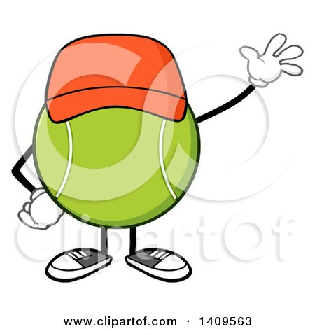 Clipart of a Cartoon Tennis Ball Character Mascot Wearing a Hat and Waving - Royalty Free Vector Illustration by Hit Toon