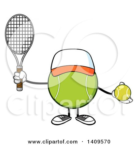 Clipart of a Cartoon Tennis Ball Character Mascot Wearing a Hat - Royalty Free Vector Illustration by Hit Toon
