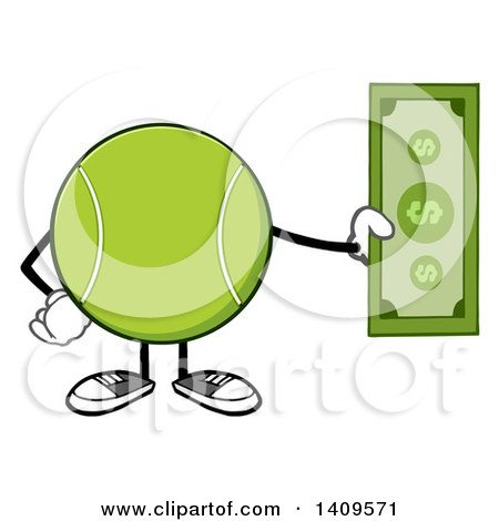 Clipart of a Cartoon Tennis Ball Character Mascot Holding Cash - Royalty Free Vector Illustration by Hit Toon