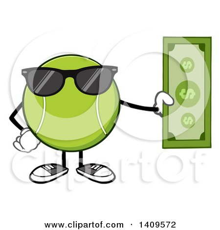Clipart of a Cartoon Tennis Ball Character Mascot Wearing Sunglasses and Holding Cash - Royalty Free Vector Illustration by Hit Toon