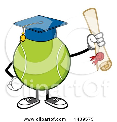 Clipart of a Cartoon Tennis Ball Character Mascot Graduate - Royalty Free Vector Illustration by Hit Toon