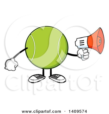 Clipart of a Cartoon Tennis Ball Character Mascot Using a Megaphone - Royalty Free Vector Illustration by Hit Toon