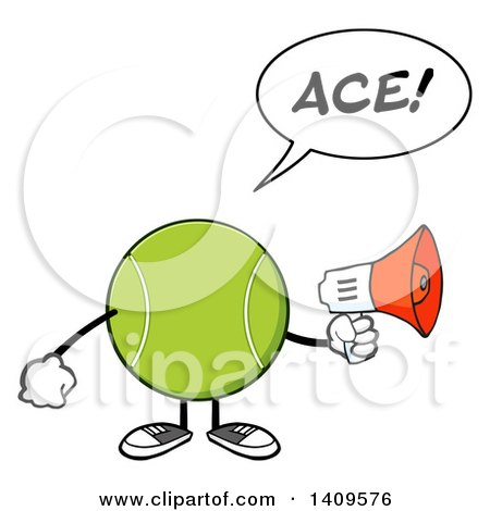 Clipart of a Cartoon Tennis Ball Character Mascot Using a Megaphone and Saying Ace - Royalty Free Vector Illustration by Hit Toon
